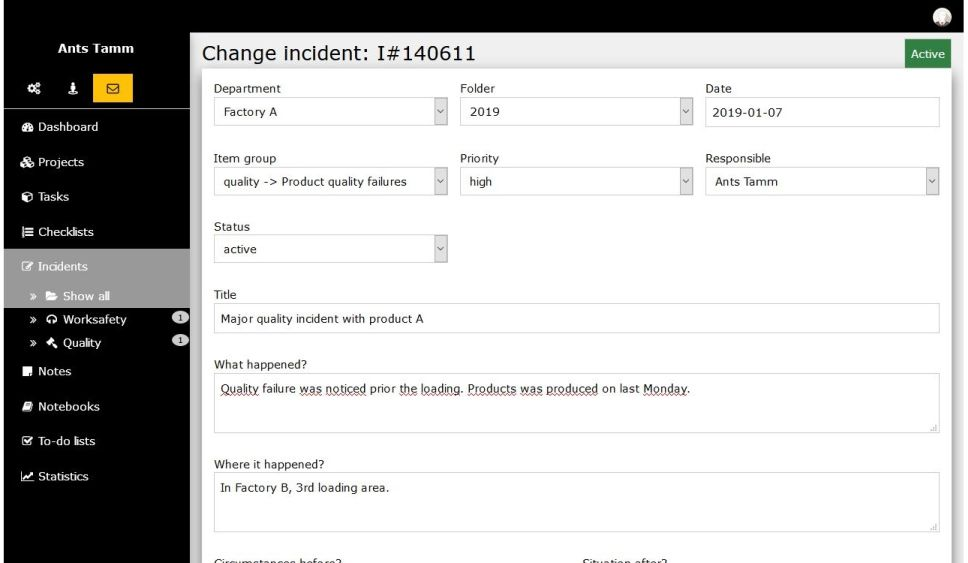incident overview with clear description, root-cause and improvement tasks
